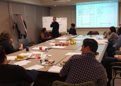 Architect presenting to a group of students