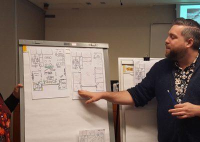 Student presenting his design