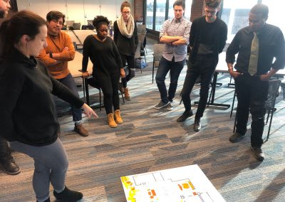 Architect leads a discussion on the floor plan and ideas