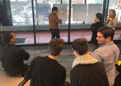 The group discusses as a sticky is placed